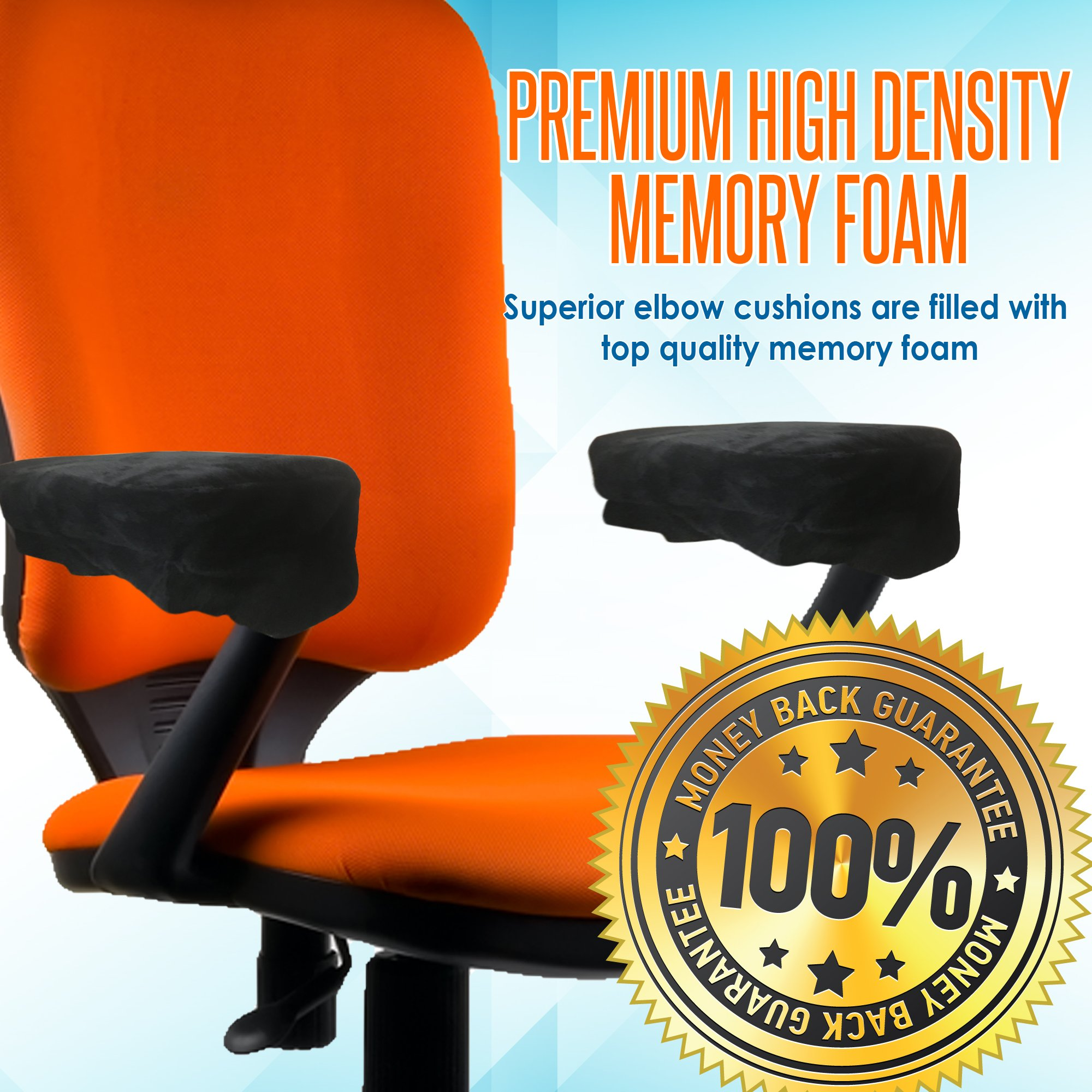 Memory Foam Arm Chair Pads for Home and Office - Perfect Density Cushions - Premium Quality - Washable Covers - Therapeutic Armrest Support - Extra Thick - Elbow & Relief - Universal Fit (Set of 2) by Grand House (Image #3)