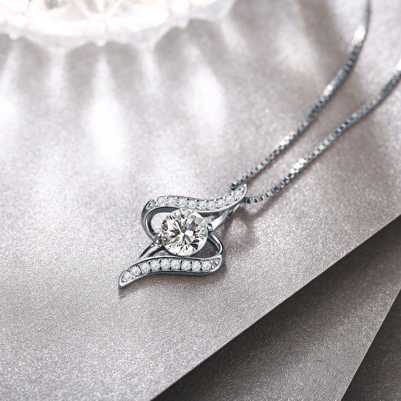 Cha/îne 45 J.Ros/ée Collier Bijoux Femme//Fille Pendentif Argent 925 Id/éal 5A Zirconium Cubique Cadeau Parfait 5CM