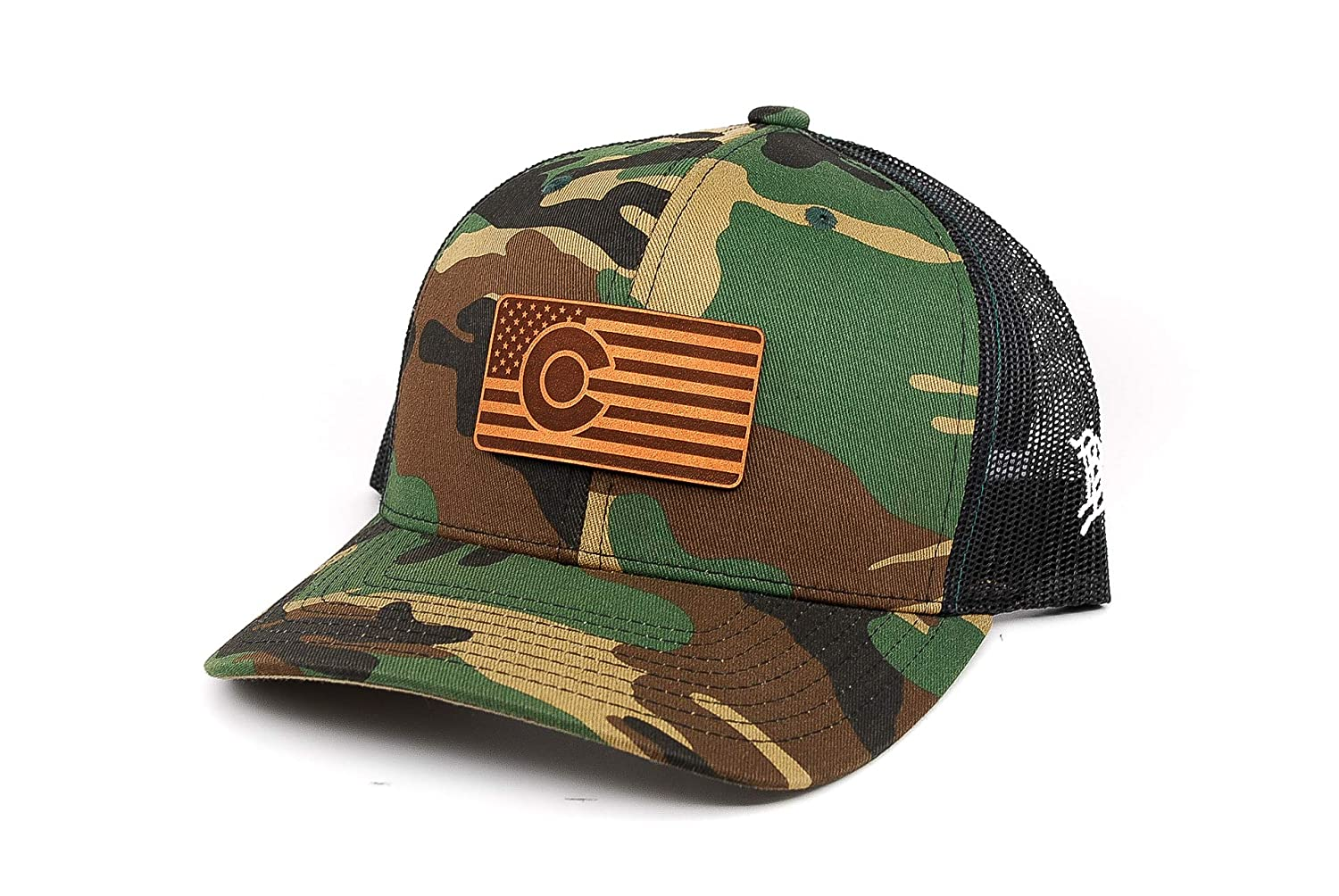 Branded Bills /'Colorado Patriot/' Leather Patch Hat Curved Trucker OSFA//Camo