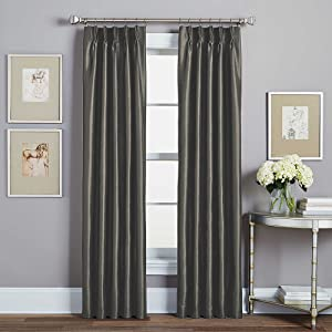 Peri Spellbound Pinch-Pleat 84-Inch Rod Pocket Lined Window Curtain Panel in Pewter
