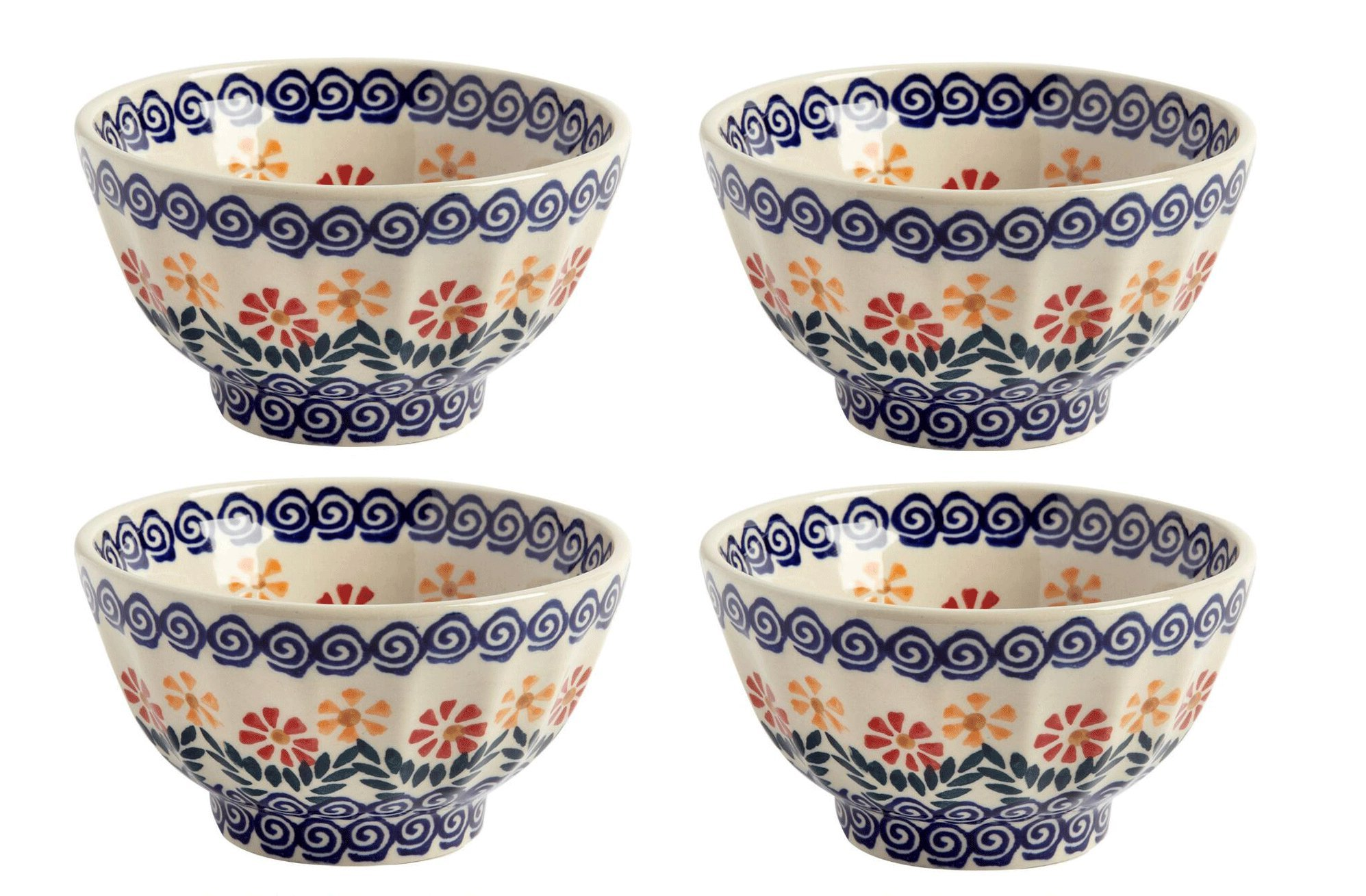 Polish Pottery Cheery Flowers Handmade Ceramic Fluted Bowls, Set of 4