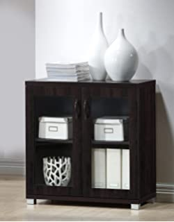 wholesale interiors zentra sideboard storage cabinet with glass doors dark brown - Cabinet With Glass Doors