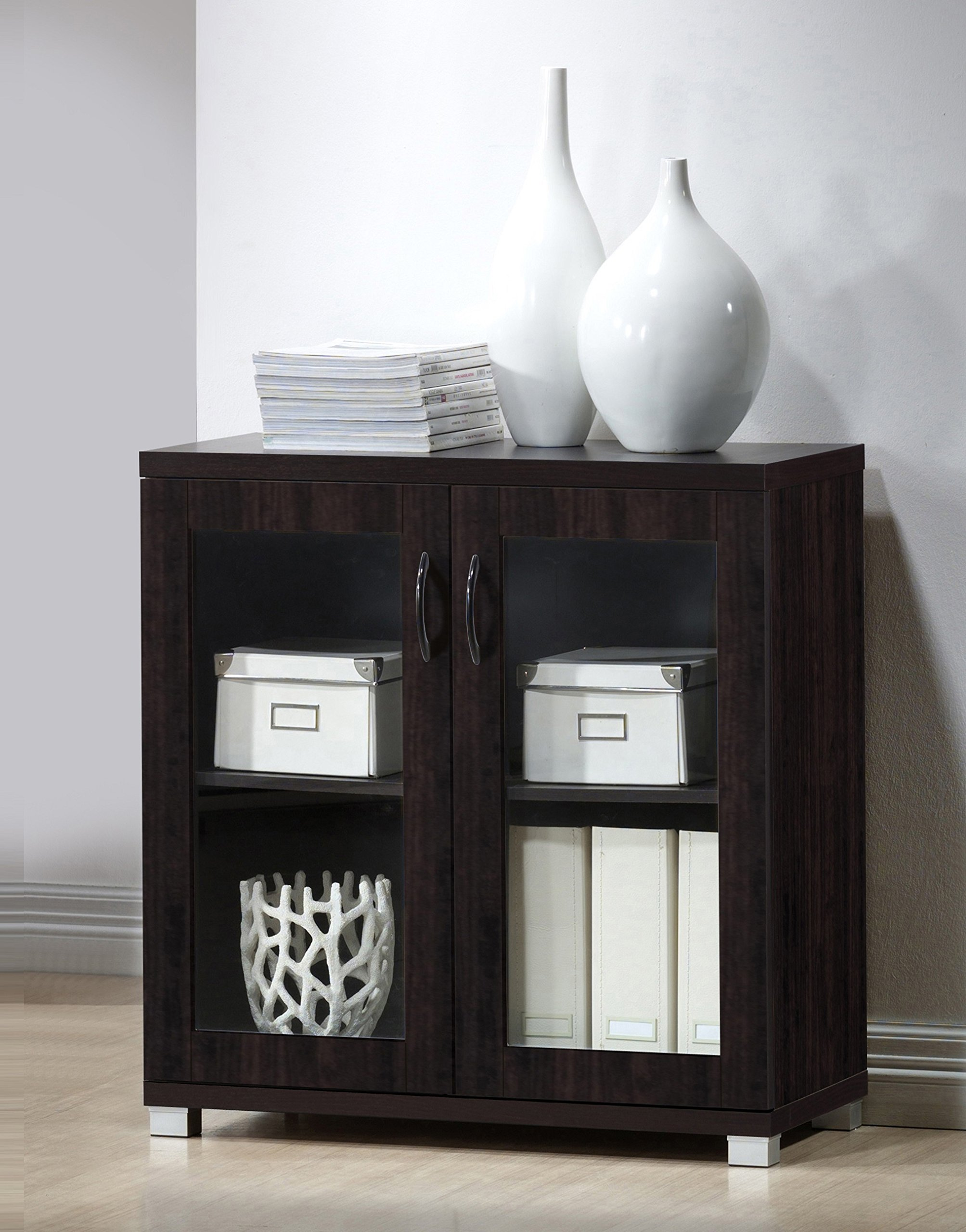 Baxton Studio Wholesale Interiors Zentra Sideboard Storage Cabinet with Glass Doors, Dark Brown by Baxton Studio