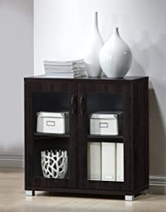 Baxton Studio Wholesale Interiors Zentra Sideboard Storage Cabinet with Glass Doors, Dark Brown
