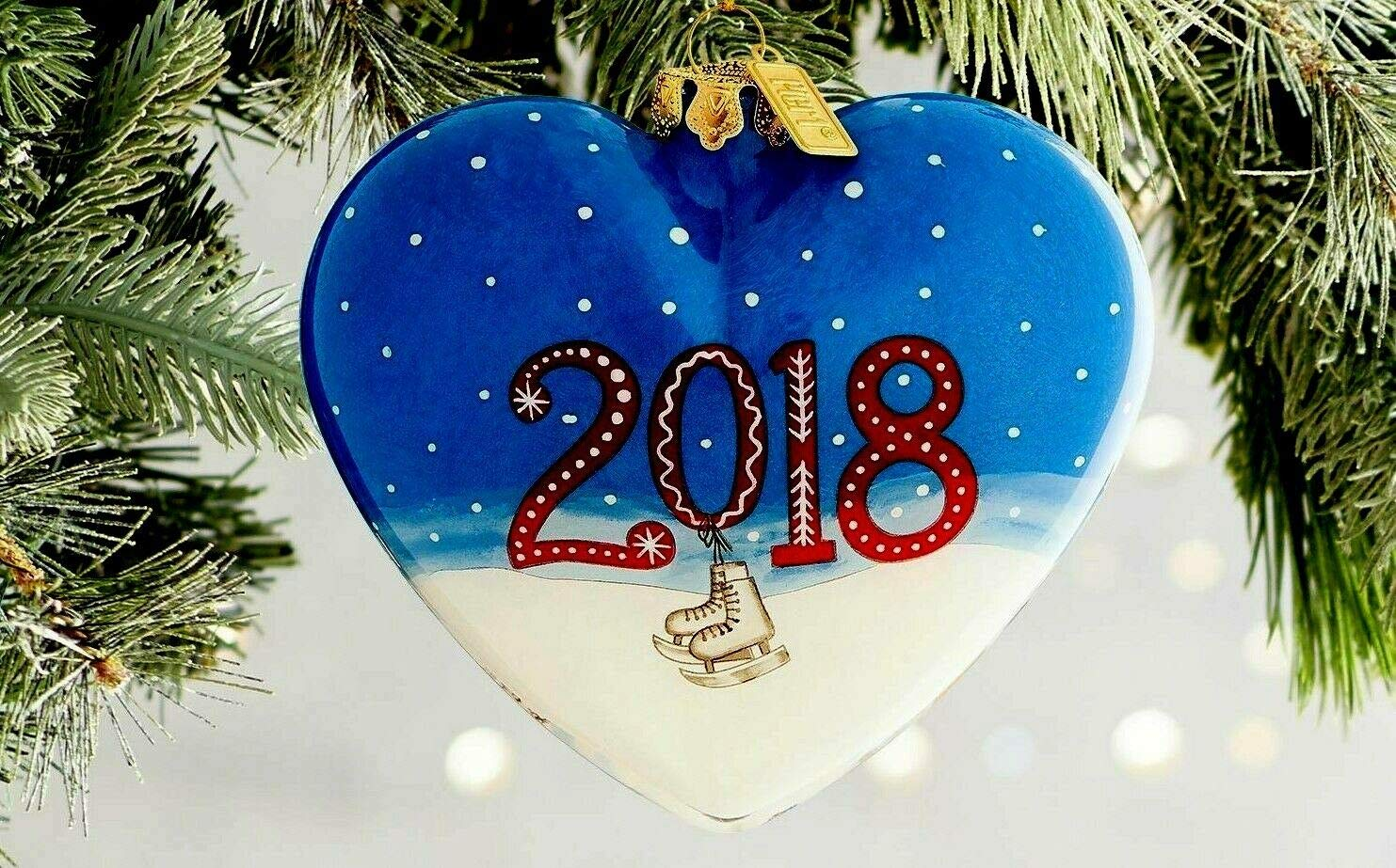 Pier 1 Christmas Ornaments.Pier 1 Imports Li Bien Glass 2018 Dated 4 Heart Shaped Skating Rabbits Li Bien Christmas Ornament With Box
