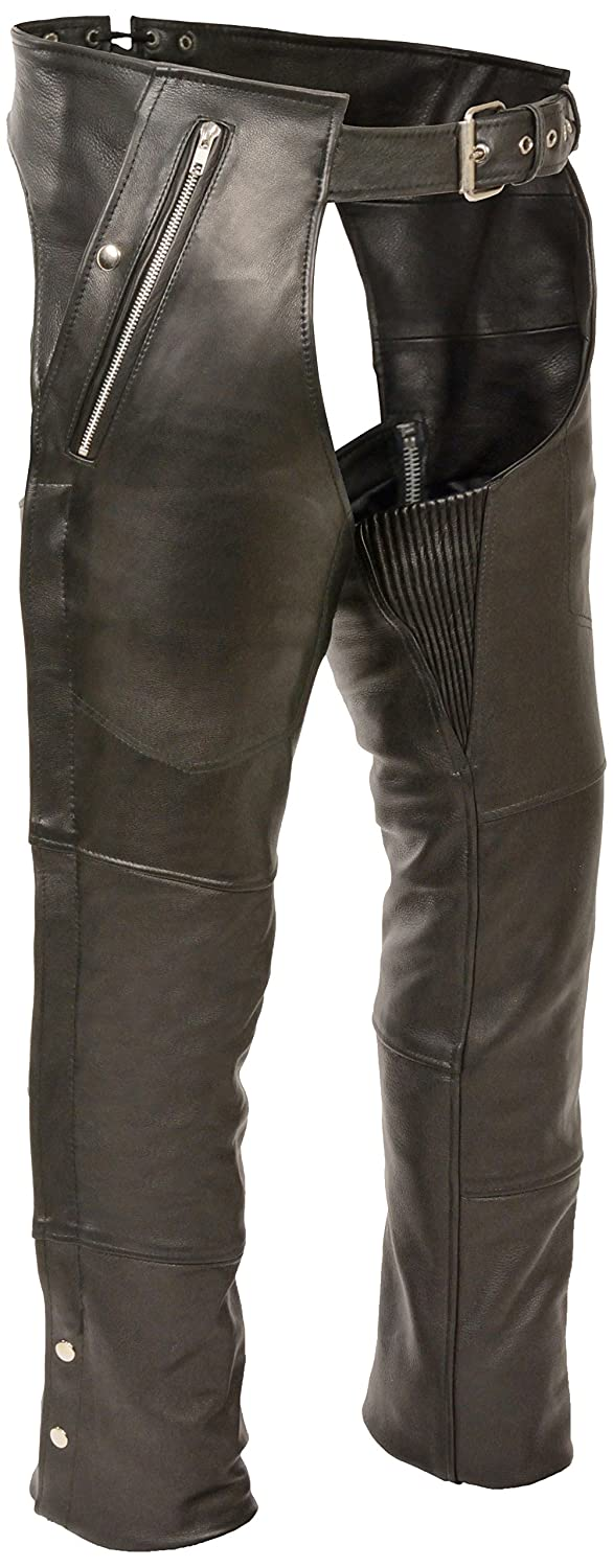 Milwaukee Four Pocket Leather Chaps (Black, Medium) Milwaukee Leather ML1191-M-BLACK
