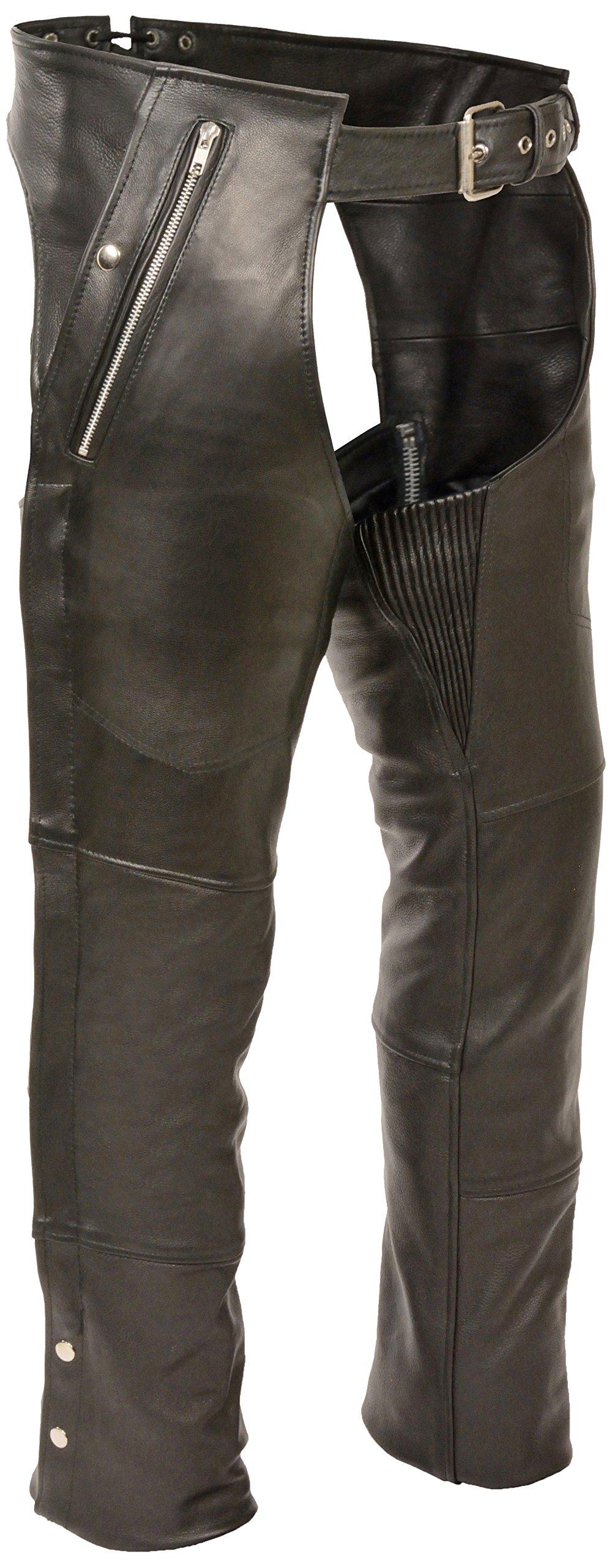 Milwaukee ML1191-5X-BLACK Four Pocket Leather Chaps, 5X-Large, Black