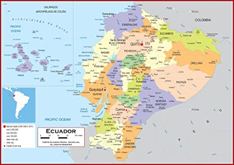 Amazon.com : Academia Maps - Wall Map of Ecuador - Fully ... on map of caye caulker, map of burning man, map of cave, map of jeju island,