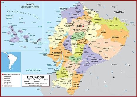 Amazon.com : Academia Maps - Wall Map of Ecuador - Fully ...