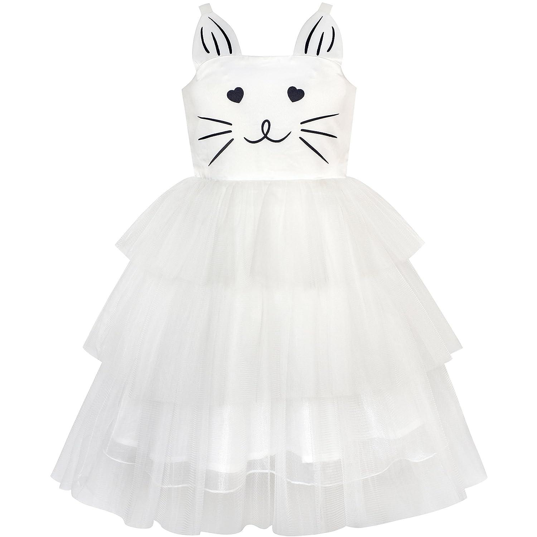Sunny Fashion Girls Dress Cat Face Black Tower Ruffle Dancing Party Size 4-10
