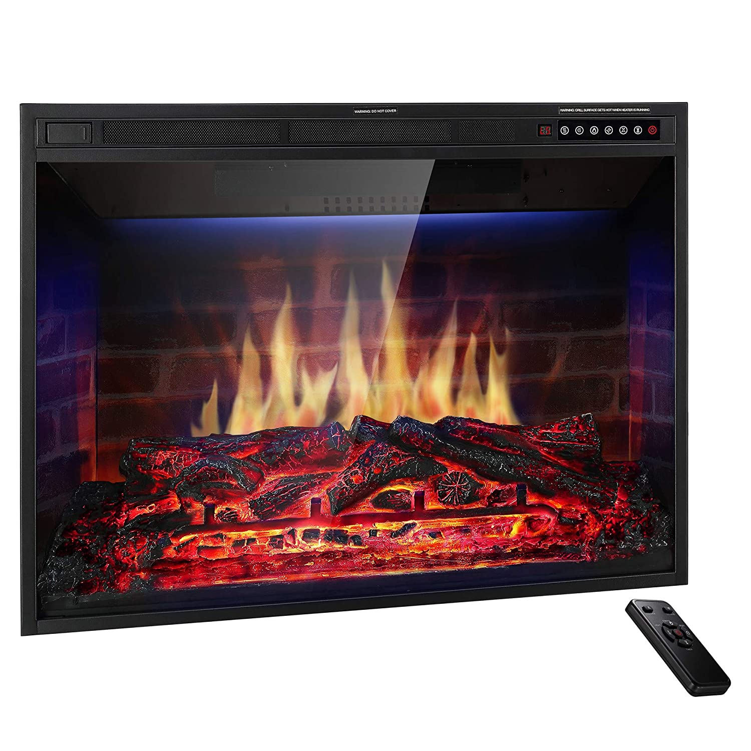 JAMFLY 33 Electric Fireplace Insert Narrow Border Design Freestanding Heater with Multicolor Flames, Touch Screen, Timer, and Remote Control, 1500w, Black