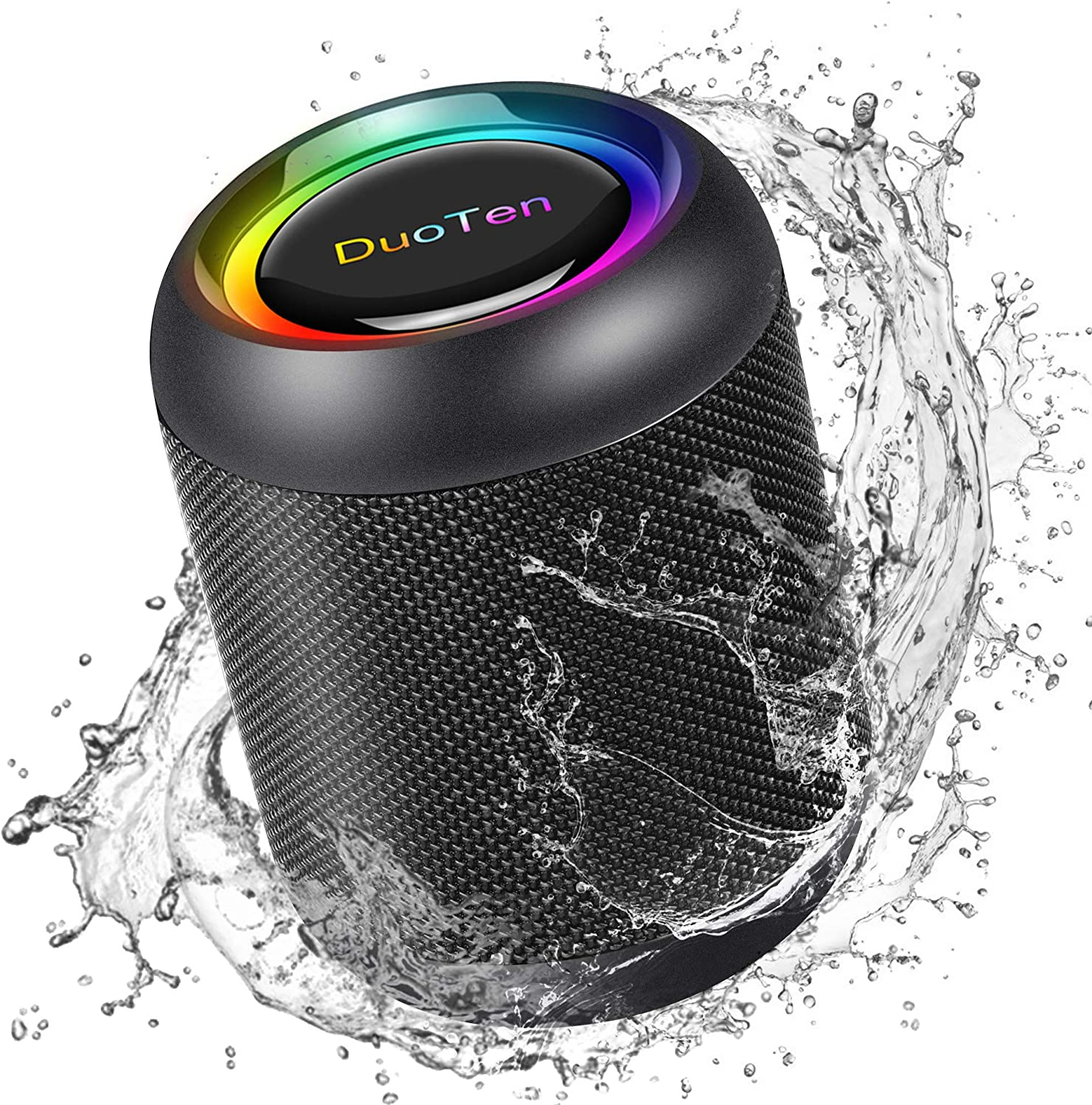 IPX7 Waterproof Speaker, DuoTen Portable Bluetooth 5.0 Wireless Speaker with RGB Light Show 360° Surround Sound TWS with Mic AUX Micro SD 24 Hours Playtime for Travel, Home, Party, Shower & Outdoors