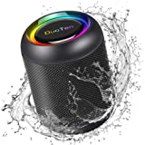IPX7 Waterproof Speaker, DuoTen Portable Bluetooth 5.0 Wireless Speaker with RGB Light Show 360° Surround Sound TWS with Mic