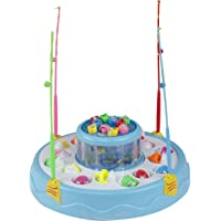 toyRack Fish Catching Electric Rotating Magnetic Fishing Game with 26 Pcs of Fish, 2 Rotary Fishing Pond & 4 Pods Includes Music and Lights Function (Assorted Color)