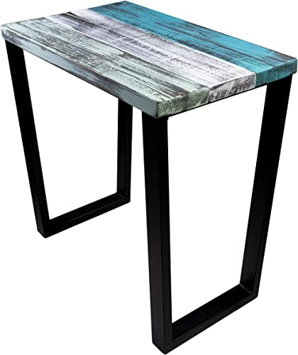 Industrial Mix Nightstand with Turquoise, Whitewash, and Palge Green Colors. Black Metal Legs.