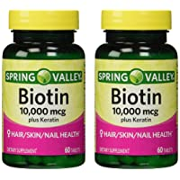 Spring Valley 10000mcg Biotin with 100mg Keratin Dietary Supplement, 60 Tablets...