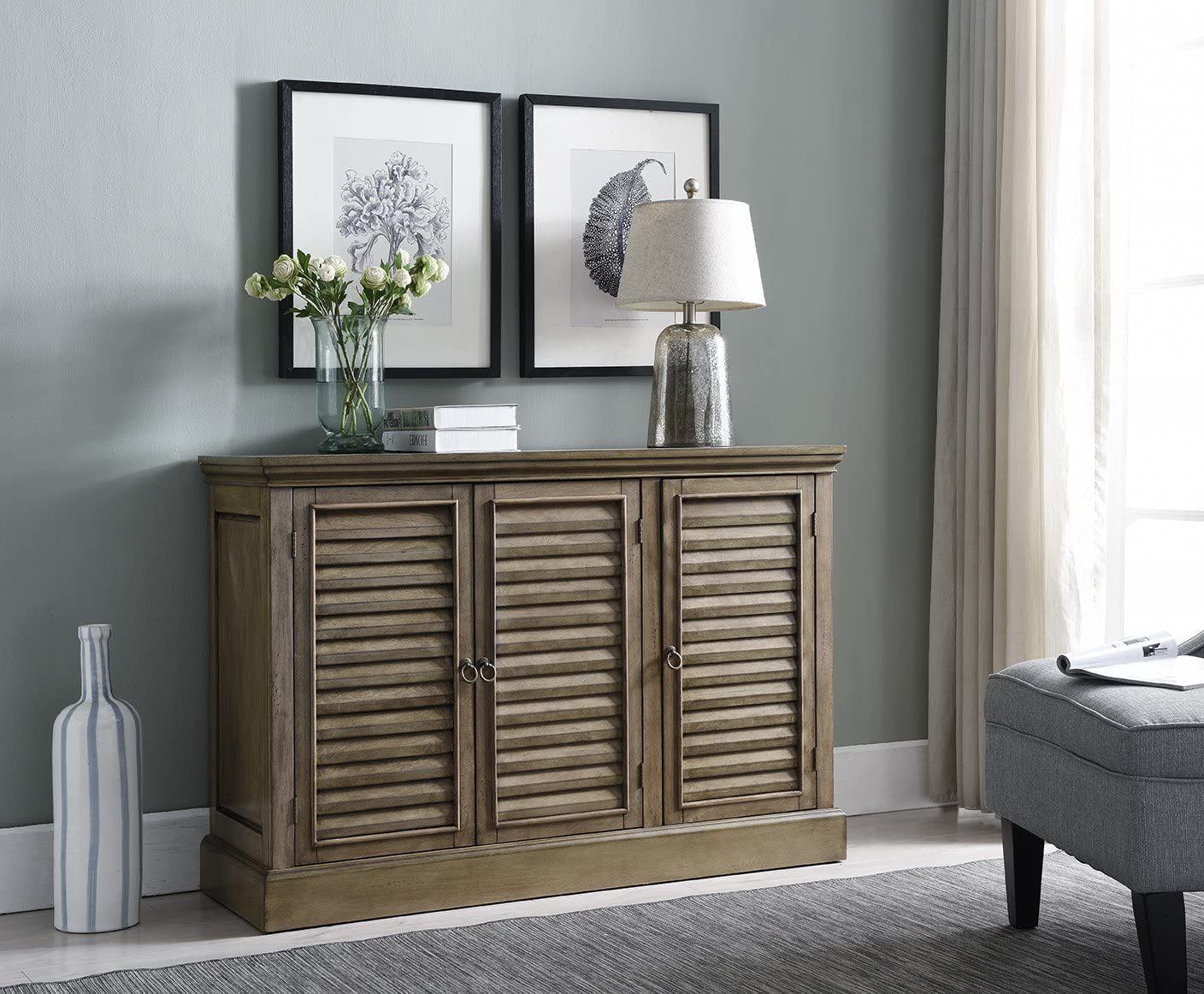 Kings Brand Furniture Antique Wash Rustic Wood Buffet Sideboard Console Table with Storage