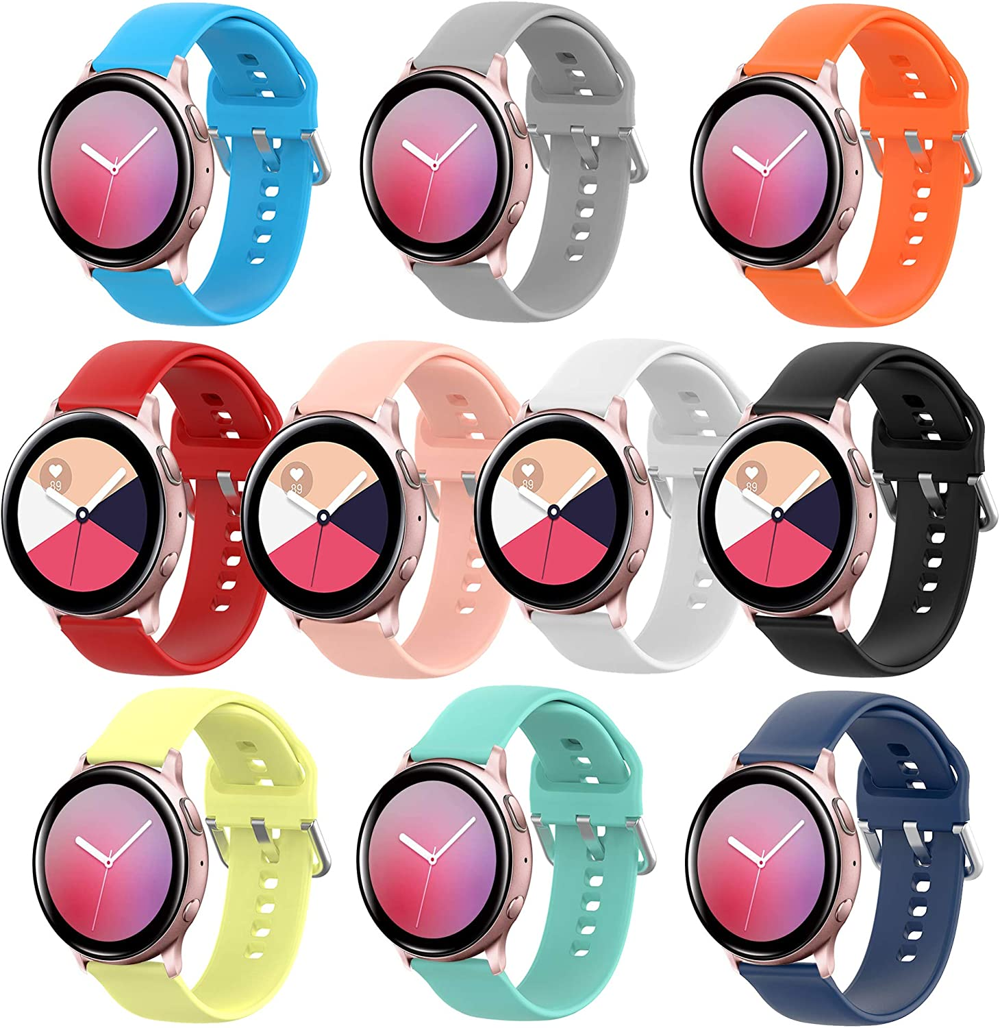 HSWAI 10 Colors Bands Compatible with Samsung Galaxy Watch Active/Galaxy Watch Active 2 (40mm)(44mm)/ Galaxy Watch 3 41mm/ Galaxy Watch 42mm, 20mm Soft Silicone Sport Strap with Quick Release