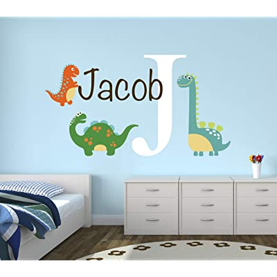 "Dinosaur Wall Decal - Custom Dinosaur Wall Decal - Personalized Boys Name Nursery Art Mural Decor Vinyl Sticker (30""W x 16""H): Baby"