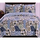 Finely Stitched Coverlet Quilt Sham Set Twin/Xl Twin Size Extra Long Single Bed Blue Flowers Leaves Floral Pattern Hawaiian Tropical Lightweight Reversible Hypoallergenic Wrinkle Free Bedding