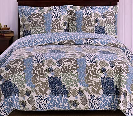 Superbe Coverlet Quilt Sham Set Twin/Xl Twin Size Extra Long Single Bed Blue  Flowers Leaves