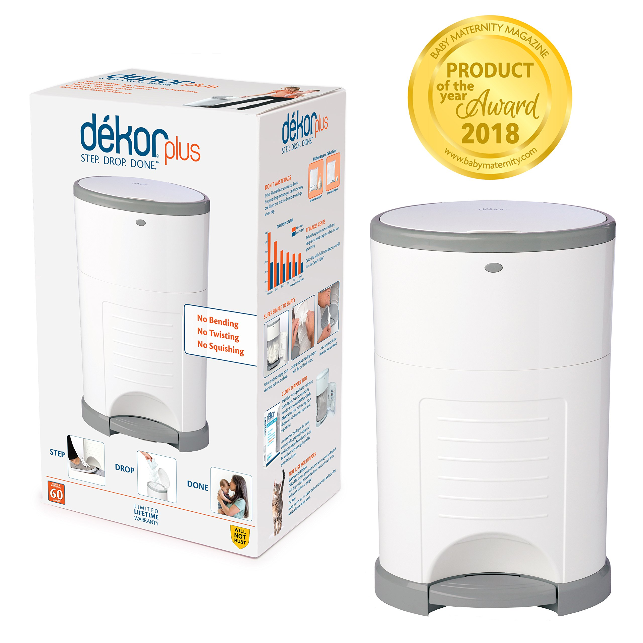 Dekor Plus Hands-Free Diaper Pail | Easiest to Use | Just Step – Drop – Done | Doesn't Absorb Odors | 20 Second Bag Change | Most Economical Refill System |Great for Cloth Diapers | White by DEKOR