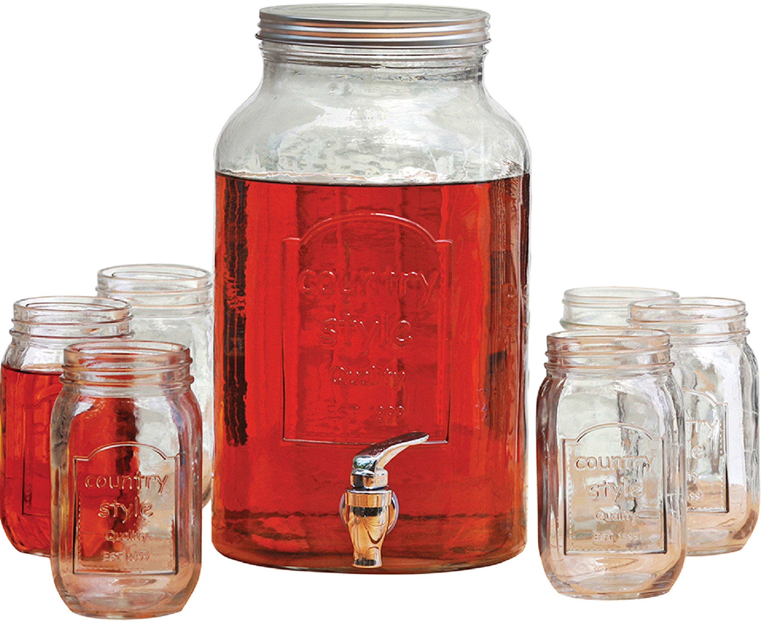 Circleware Country Glass Mason Jar Beverage Set, 1.5 Gallon Beverage Drink Dispenser, 6 Yorkshire Mason Jars, 16 Ounce Each, Gift Boxed