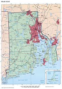 Home Comforts Large Detailed map of Rhode Island State with Administrative divisions, Roads and Cities Vivid Imagery Laminated Poster Print 12 Inch by 18 Inch