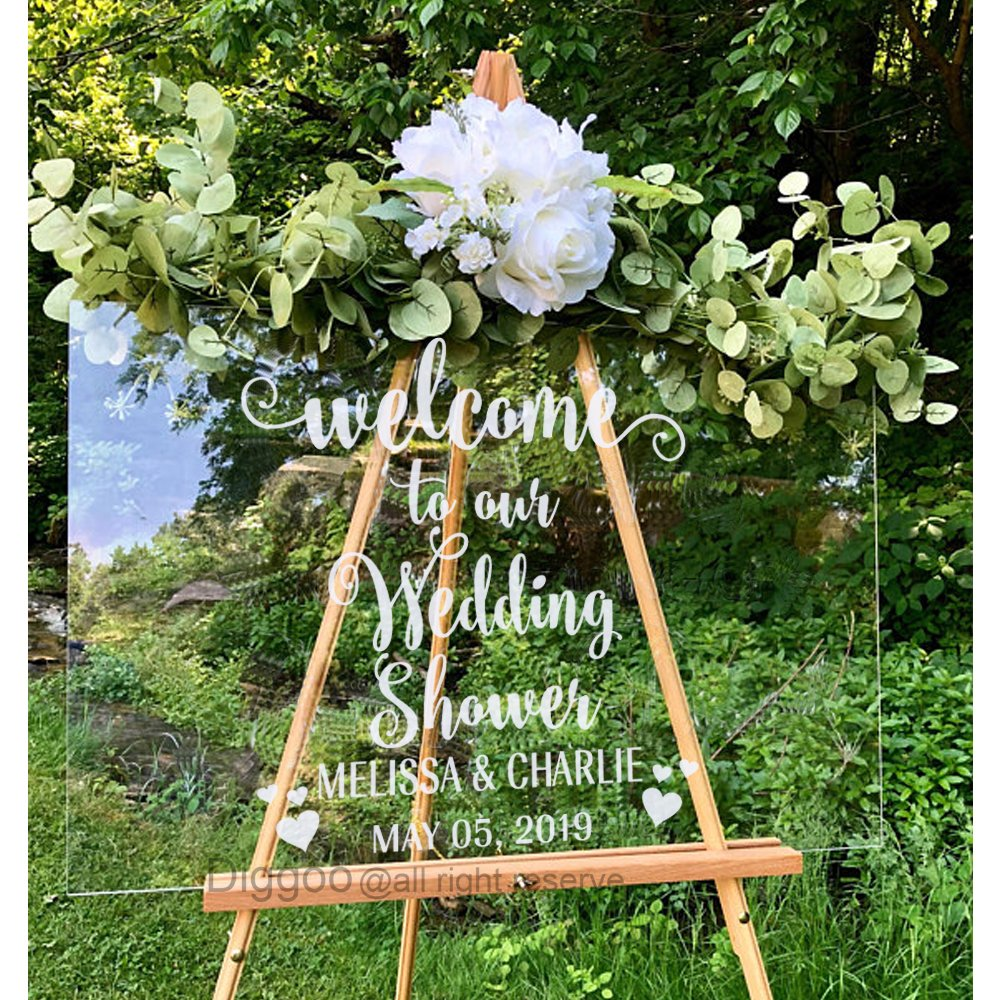 Wedding Decor Welcome to Our Wedding Shower Vinyl Lettering Rustic Wedding Welcome Sign Personalized Wedding Name and Date Decal (16''h x 14''w PLUS FREE WELCOME DOOR DECAL)