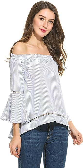 Angvns Blusas de Volantes Mujer de Rayas Camisa Hombros Descubiertos Mangas Largas: Amazon.es: Ropa y accesorios