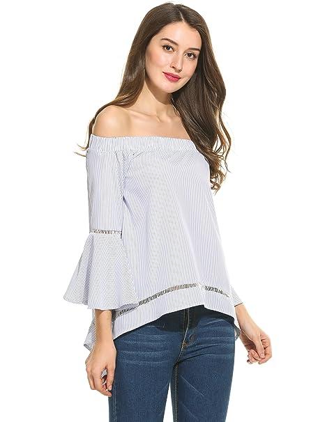 Angvns Blusas de Volantes Mujer de Rayas Camisa Hombros Descubiertos Mangas Largas