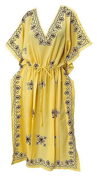 LA LEELA señoras 5 1 traje de baño bordado encubren túnica superior vestidos de noche de camisetas ropa de playa más tamaño batas rayón noche de mujeres ...