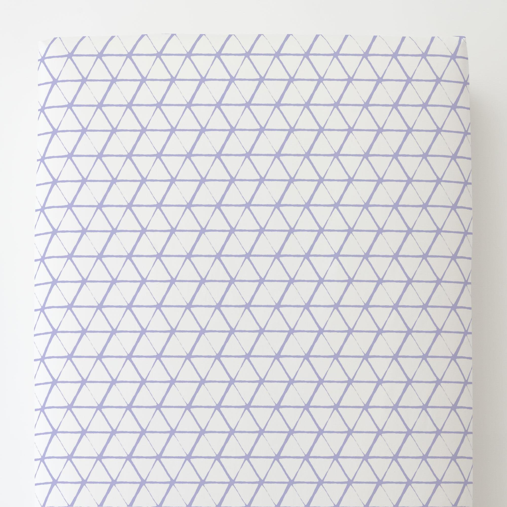 Carousel Designs White and Lilac Aztec Triangles Toddler Bed Sheet Fitted