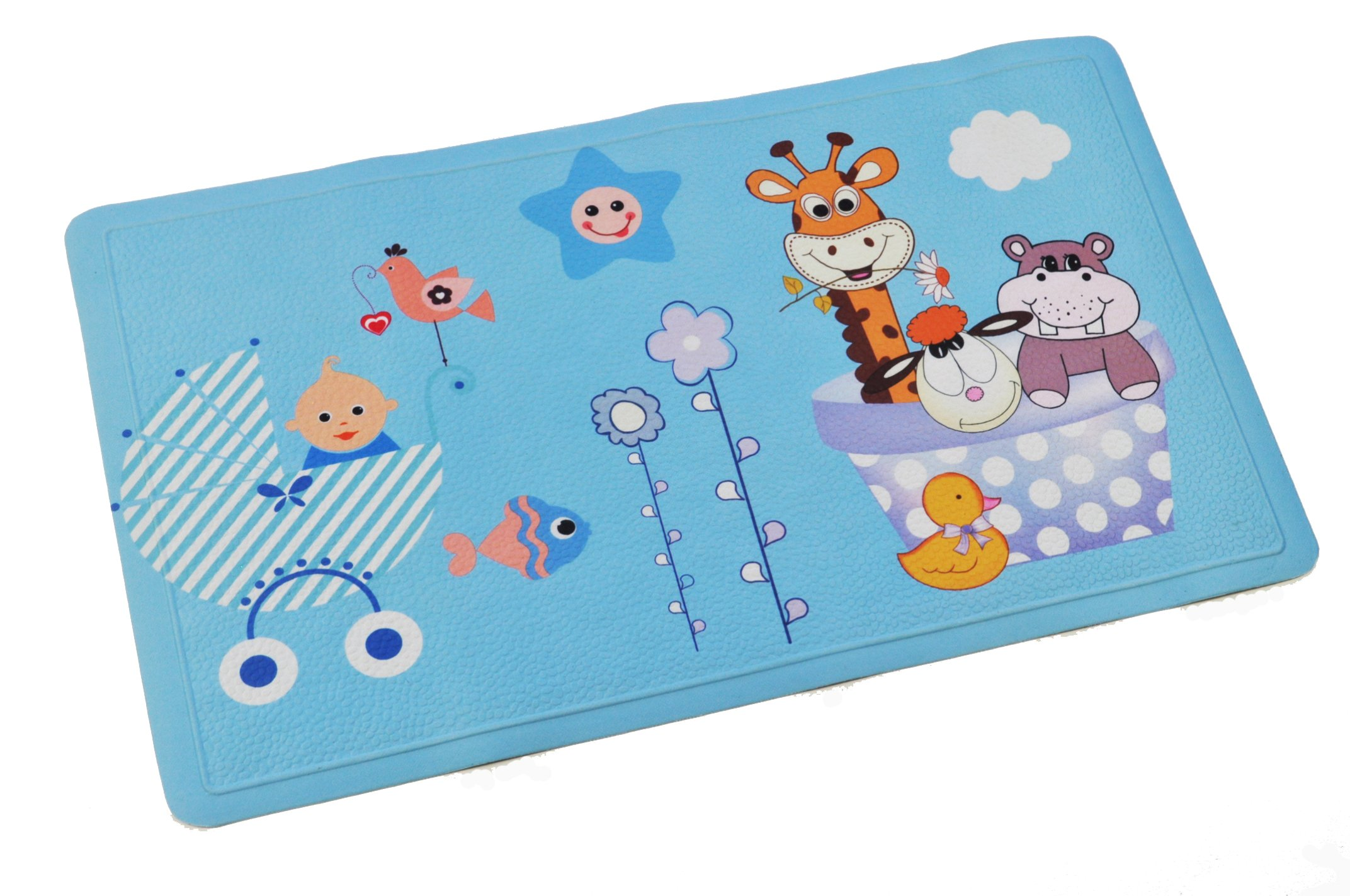 ABELE (R) Design Animal Rubber Non Slip Baby Kids Safety Shower Tub Bath Mat, Skid Proof and Anti Bacterial, Mildew Mold Resistant Bathtub Mat, w/ Cloth Coating (Animal Giraffe Fish Duck Sheep)