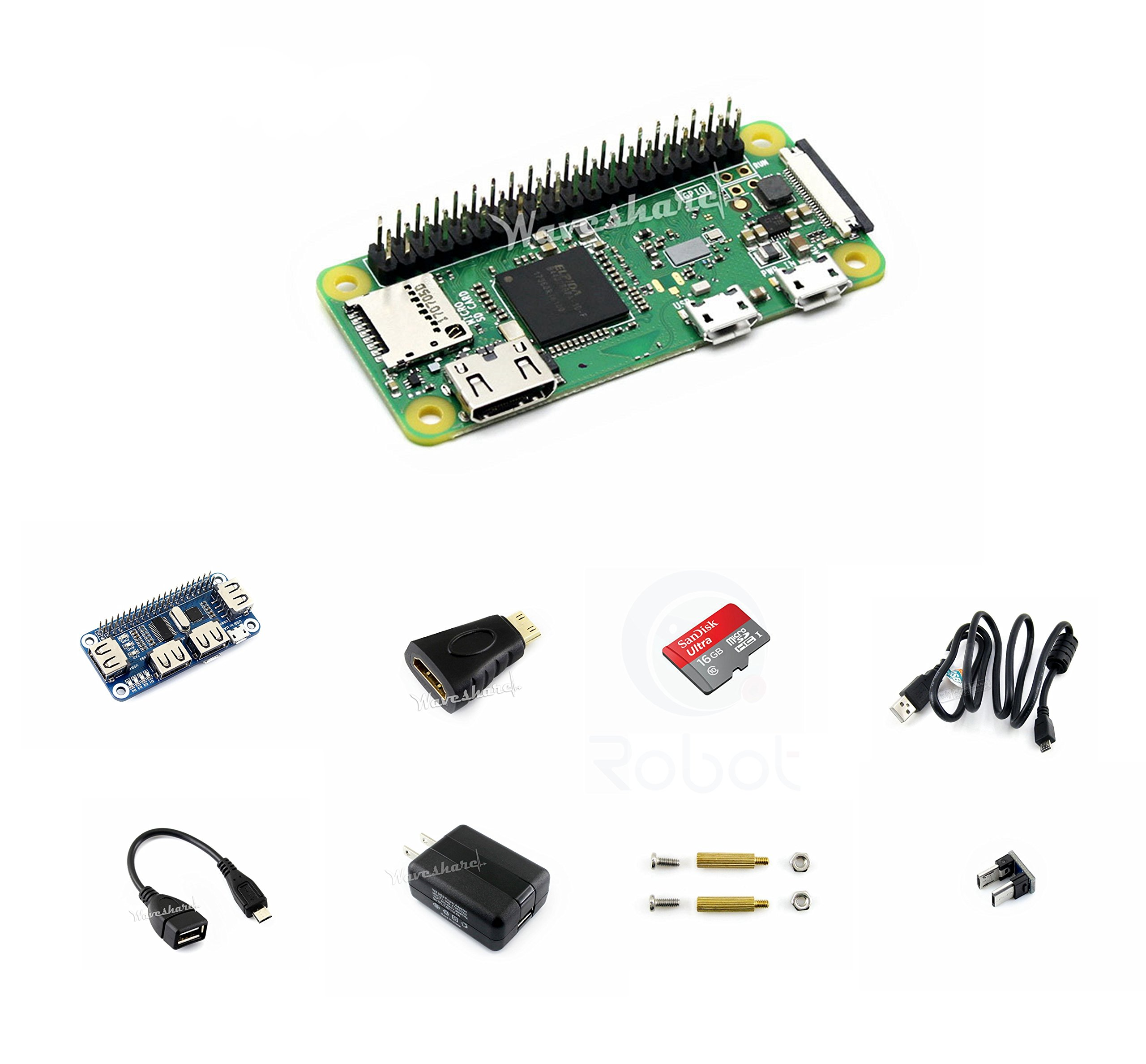 CQRobot Kit D with USB HUB HAT for Raspberry Pi Zero WH, Includes: Raspberry Pi Zero WH (Built-in WiFi), Micro SD Card, Power Adapter, Mini HDMI to HDMI Adapter, Micro USB OTG Cable and Components.