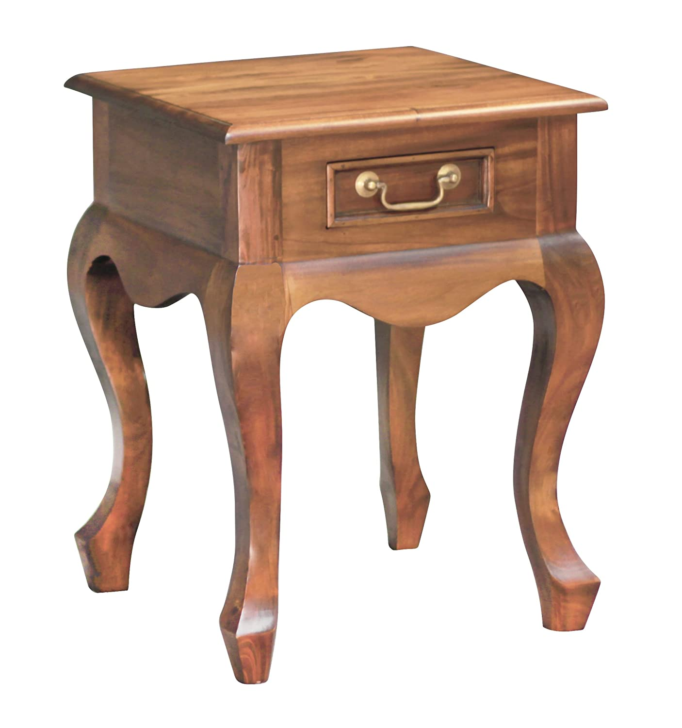 NES Furniture abc10286 Queen Anne Nightstand Fine Handcrafted Solid Mahogany Wood 24 inches Pecan