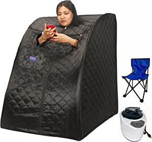 BIRDBELL Saunas, Portable Steam Sauna Spa, 2L Personal Therapeutic Sauna with Remote Control,Foldable Chair,90 Minute Timer, 1000 Watt 2L Steam Generator - Black