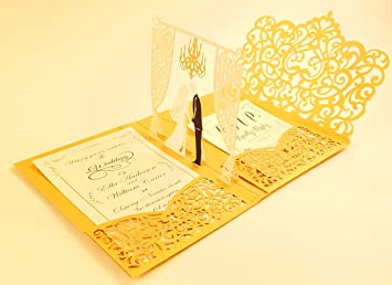 amazon com pack of 50 pop up 3d wedding invitations with gold laser