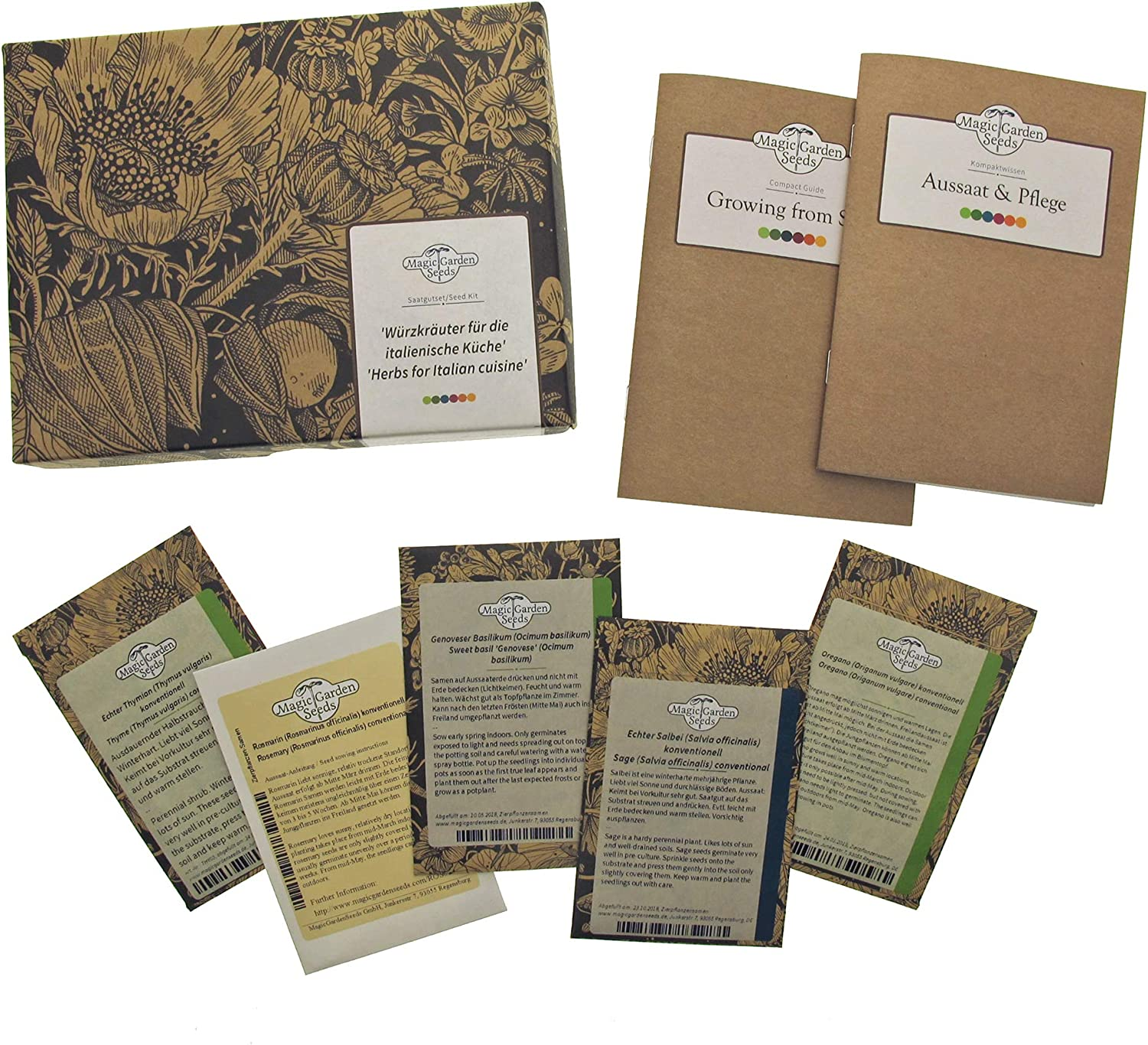 Bella Italia Herbs Seed kit Gift Box with 5 Classic Italian herb Varieties traditionally Used in antipasti Pizza and Pasta Recipes
