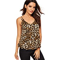 MAKEMECHIC Women's Strappy Leopard Pirnt Cami Top Flowy V Neck Loose Tank Top