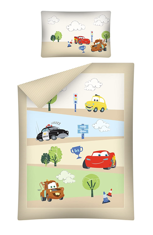 Parure de lit enfant Cars Marron 100x 135cm + 40x 60cm 100% coton Parure de lit Baby Parure de lit 2pièces Parure de lit DETEXPOL