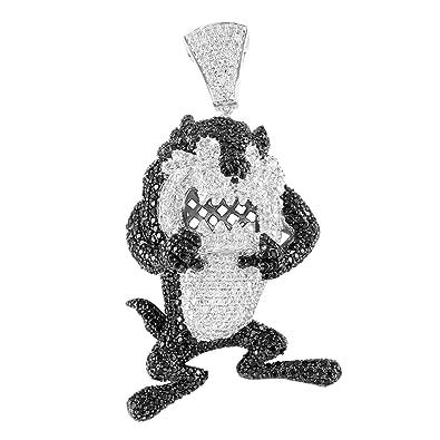New iced out black white lab diamond cartoon character white gold new iced out black white lab diamond cartoon character white gold finish pendant aloadofball Images