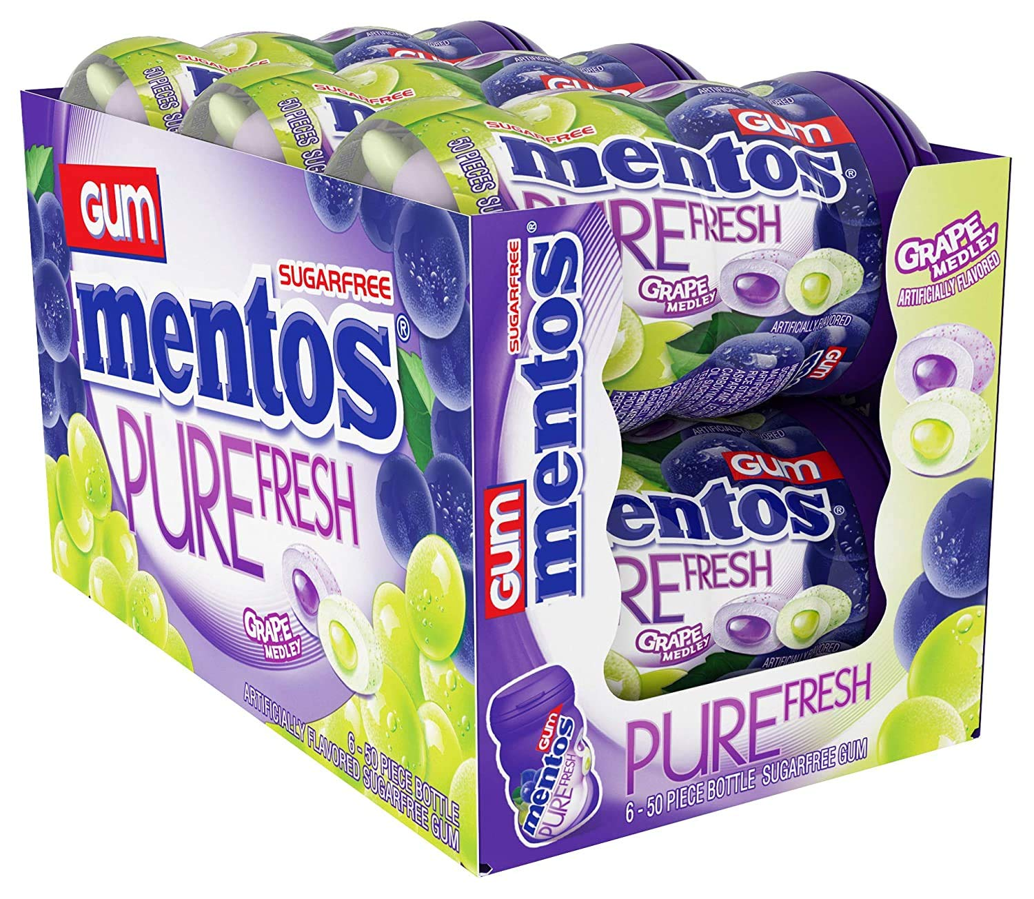 Mentos Pure Fresh Sugar-Free Chewing Gum with Xylitol, Grape Medley, 50 Piece Bottle (Bulk Pack of 6)