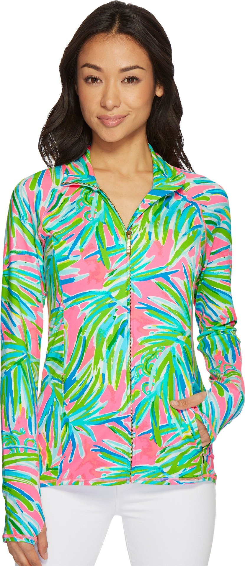 Lilly Pulitzer Women's Luxletic Serena Jacket Pink Sunset Royal Lime Large