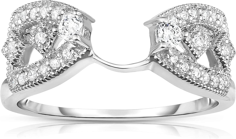 NATALIA DRAKE 14K White Gold 1/4 Cttw Diamond Wrap Guard Bridal Ring for Women Size 7 (Color H-I/Clarity I1-I2)