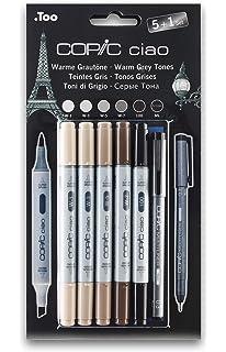 Copic Ciao - Juego de rotuladores (5 unidades, doble punta, incluye rotulador de punta fina 0,3 mm), tonos grises: Amazon.es: Oficina y papelería