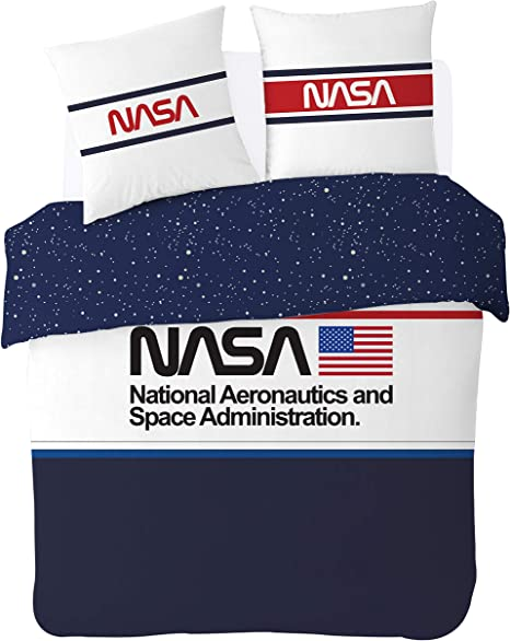 NASA - Juego de Cama (100% algodón), Bleu/ Blanc, 200 x 200 cm ...