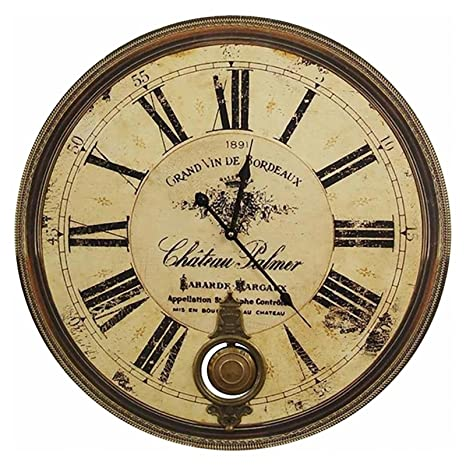 Reloj De Pared – Reloj de péndulo Burdeos Vino 1891 Chateau Palmer Nostalgie Reloj de Estación