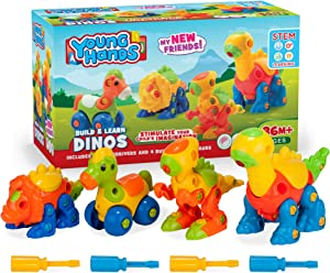Creative Kids Build & Learn Dinosaur Take Apart Toy Set with Tools Interlocking STEM Educational Building Construction Kit for Preschool, Kindergarten, Boys & Girls Age 3+