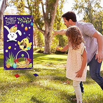 Oster Hasen Spiel Poster mit 24 St/ücken Kaninchen Schwanz Aufklebern und 6 St/ücken Schwarz Augenmasken Stecke den Schwanz auf dem Hasen Ostern Party Spiel